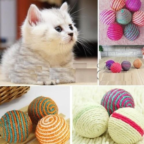 Sisal Ball Chew Fetch Play Pet Toy Dog Cat Kitten Teaser Rattling Sound Rope Balls Indoor Toys