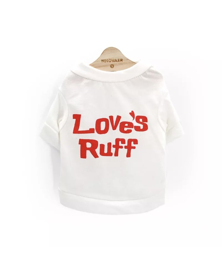 Love�s Ruff Letter Print Pet T-Shirt XS Puppy Dog Top Summer Spring Cute Valentine�s Day Clothes