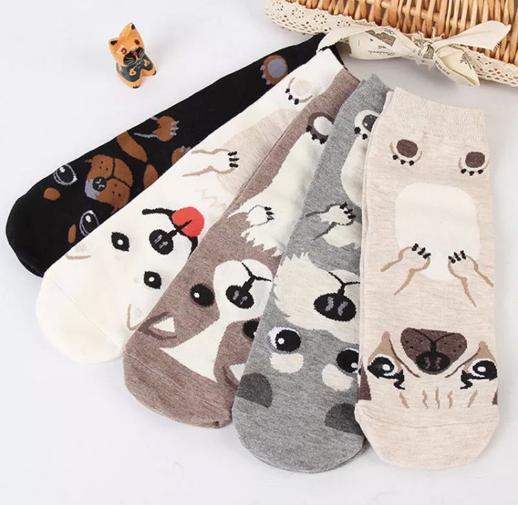 Women�s High Socks Pet Puppy Dog Animal Cute Cartoon Print Cotton Slippers Ladies Leisure