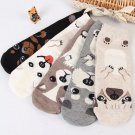 Women's High Socks Pet Puppy Dog Animal Cute Cartoon Print Cotton Slippers Ladies Leisure