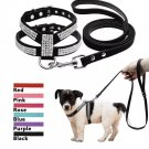Rhinestone Harness Leash Pet Set S-L Suede Leather for Puppy Dog Kitty Cat Pet Supplies