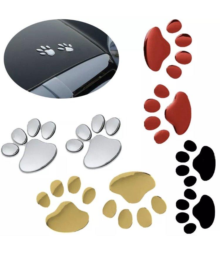 Pair 3D Dog Paw Pawprint Car Sticker Waterproof Sunproof Body Individuation Pet Puppy Footprint