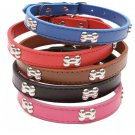 Bone Shape Studs Leather Collar S-L Studded Bones Pet Puppy Dog Adjustable Neck Strap