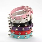 Spiked Rivet Pet Pu Leather Collar XS-L Puppy Dog Cat Studded Adjustable Neck Strap Fashion