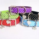 Rhinestone Heart Polka Dot XS-L Collar Adjustable Buckle Neck Strap Pet Puppy Dog Cat