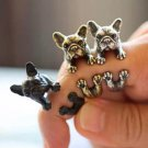 Retro Puppy Dog Ring Pet Fashion Adjustable French Bulldog Boston Terrier Wrap Ring Vintage Jewelry