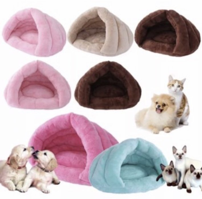 Foldable Plush Pet Bed Nest House S-L Kennel Cat Dog Soft Warm Tent Sleeping Mat Pad Cave