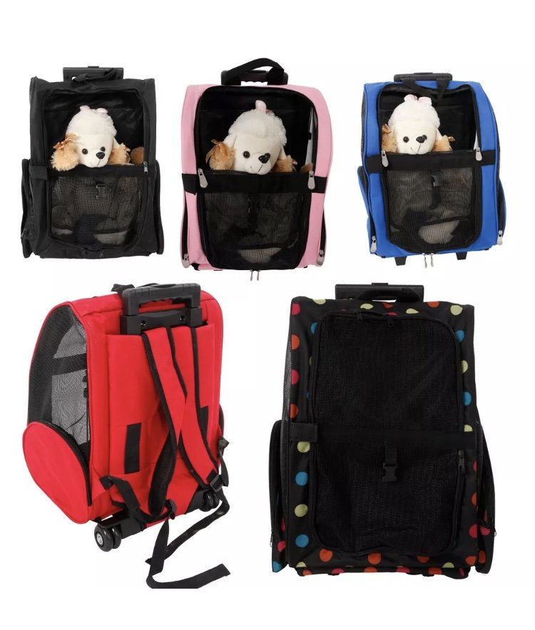 Pet Carrier Dog Cat Rolling Back Wheel Luggage Bag Pouch Backpack Travel Supplies