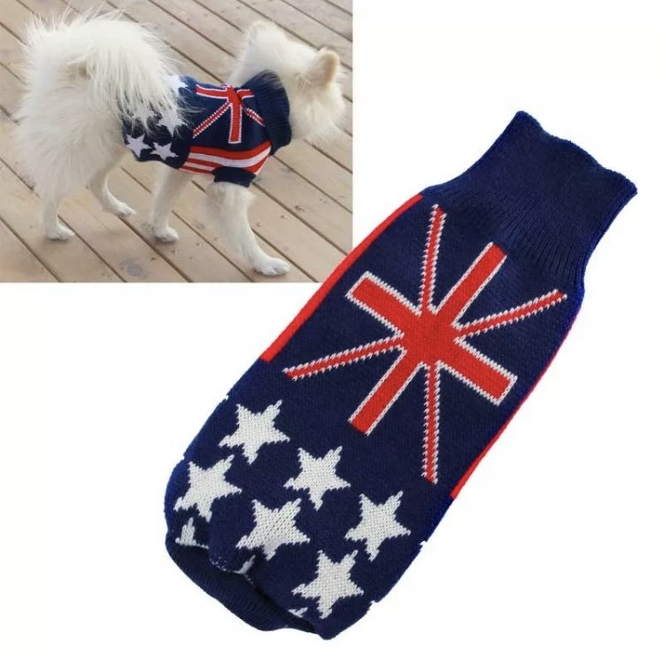 Red White Blue Pet Sweater XS-2XL Puppy Dog Kitten Cat Knit Coat Jacket Flag Stars Apparel Clothes