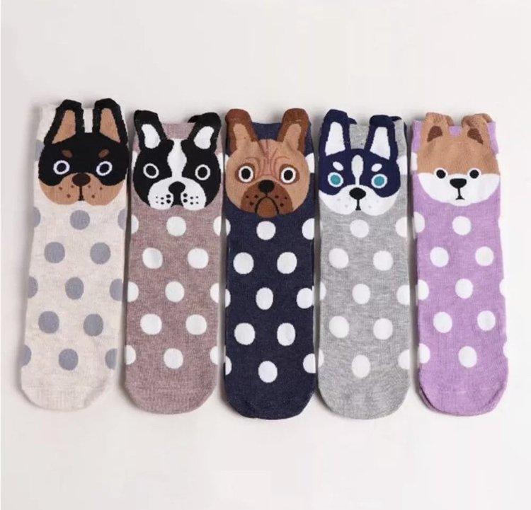 1Pair Pet Owners Fashion Cartoon Unisex Socks Puppy Dog Face Warm Cotton Floor Sock Shoes