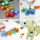 LED Clip-on Bone Collar Pendant Safety Light Puppy Dog Outdoors Dark Night Visible Protection