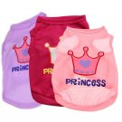 Princess Tiara Pet Tank Top XS-L Puppy Dog Kitten Cat Printed Top T-Shirt Summer Spring Cute Clothes