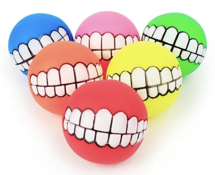Squeaky Teeth Smile Ball Pet Toy Interactive Squeaker Sound Puppy Dog Play Funny Silicone Chew Toys