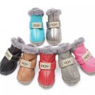 Waterproof Pet Boots Shoes Winter Warm Puppy Dog Leather Fleece Nonslip Soles Outdoors Shoes
