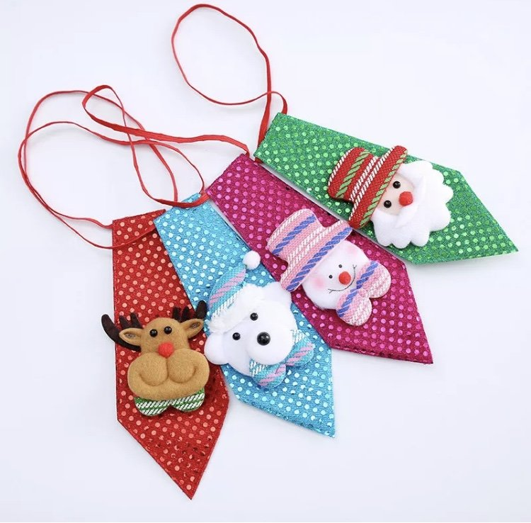 Christmas Pet Adjustable Neck Tie Holiday Party Necktie Grooming Bow Tie Collar Accessory