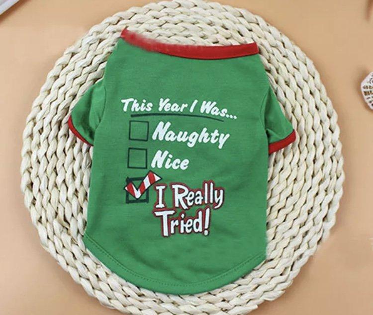 Christmas Nice Naughty List XS-XL Pet T-shirt Funny Print Puppy Dog Shirt Top Xmas Holiday Clothes