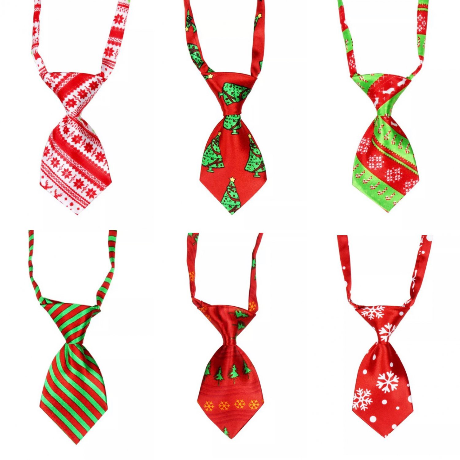 Christmas Pet Adjustable Neck Tie Holiday Necktie Holiday Party Grooming Bow Tie Collar Accessory
