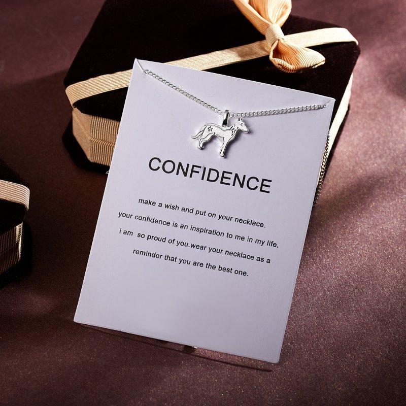 Zodiac Confidence Dog Animal Pendant Silver Chain Necklace Pet Puppy Dog Charm Fashion Jewelry