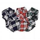 Plaid Turn Down Collar Shirt XS-L Short Sleeve Button Closure Lattice Dog Cat Apparel Pet Clothes