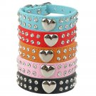 2 Rows Diamante Rhinestones XXS-M Dog Collars PU Leather With Heart Charm Puppy Dog Cat Pets Collar