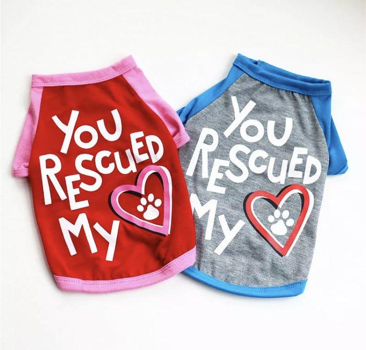 You Rescued My Heart T-Shirt XS-XL Pet Puppy Dog Kitten Cat Top Shirt Pets Clothes