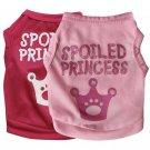 Spoiled Princess Tiara Tank Top XS-L Pet Puppy Dog Summer Apparel Pets Clothes