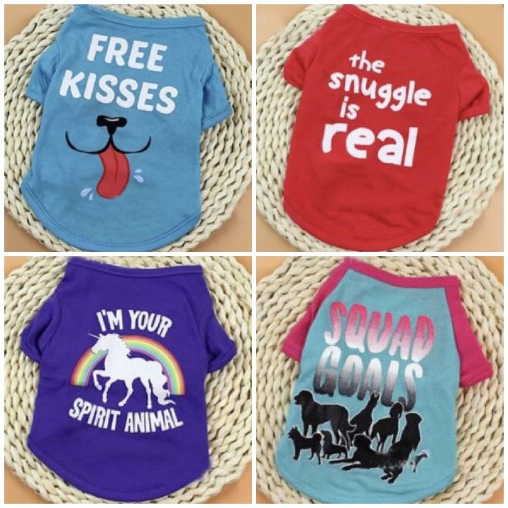 Graphic Letter Print Pet T-Shirt XS-XL Puppy Dog Shirt Top Pets Clothes Apparel