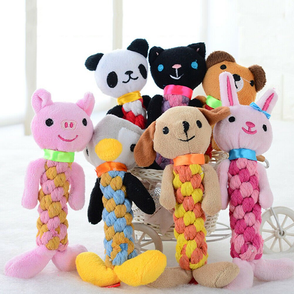 Pet Rope Chew Toy Squeaky Animal Design Squeaker Sound Puppy Dog Interactive Play Toys