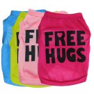 Free Hugs Letter Print Pet Tank XS-L Top Puppy Dogs Cat Tops Apparel  Clothes
