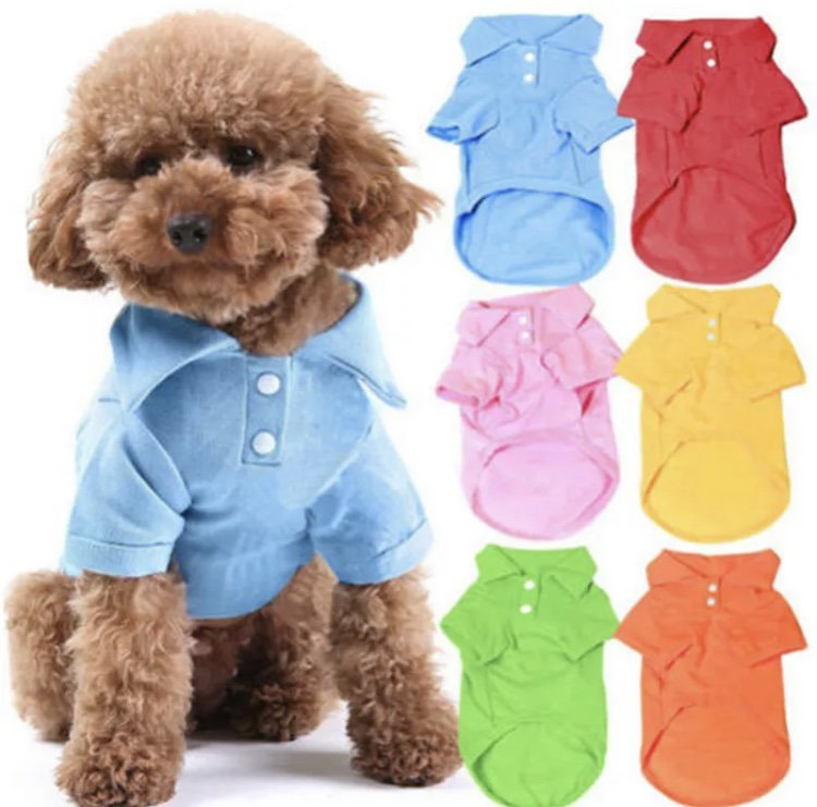 Colorful Collar Pet Polo Shirt S-XL Puppy Dog Cat Top Fashion Formal Dressy Apparel Pets Clothes