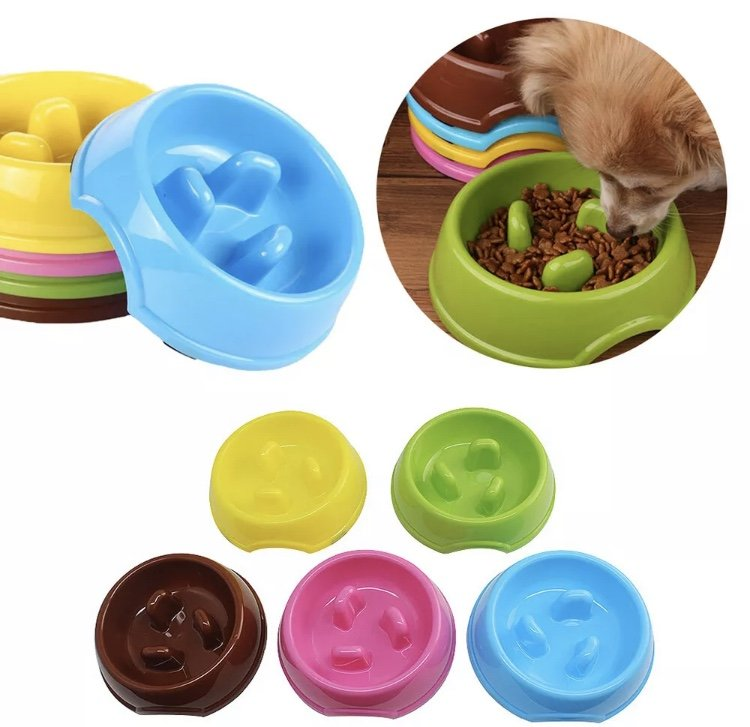 Pet Animal Plastic Bowl Slow Eater Puppy Dog Feed Eat Cat Slower Eating Food Training