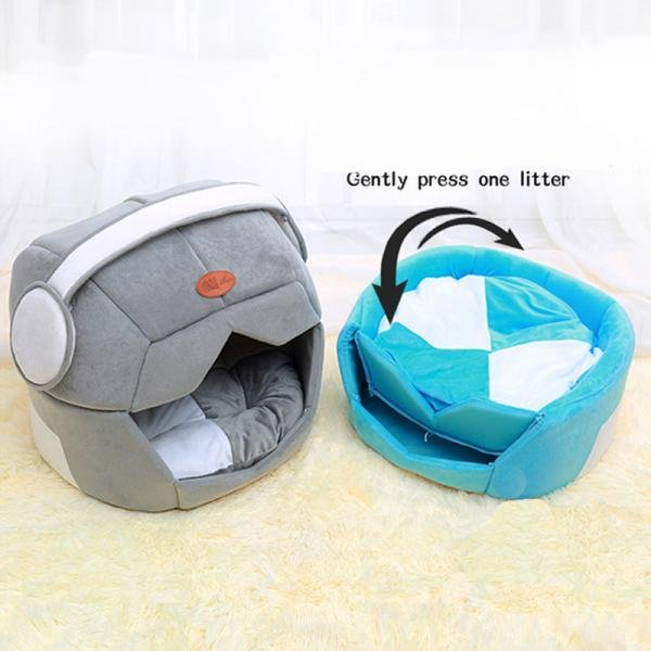 Headphones Pet Bed Nest House S-L Kennel Music Space Cap Puppy Dog Cat Cushion Soft Warm Home