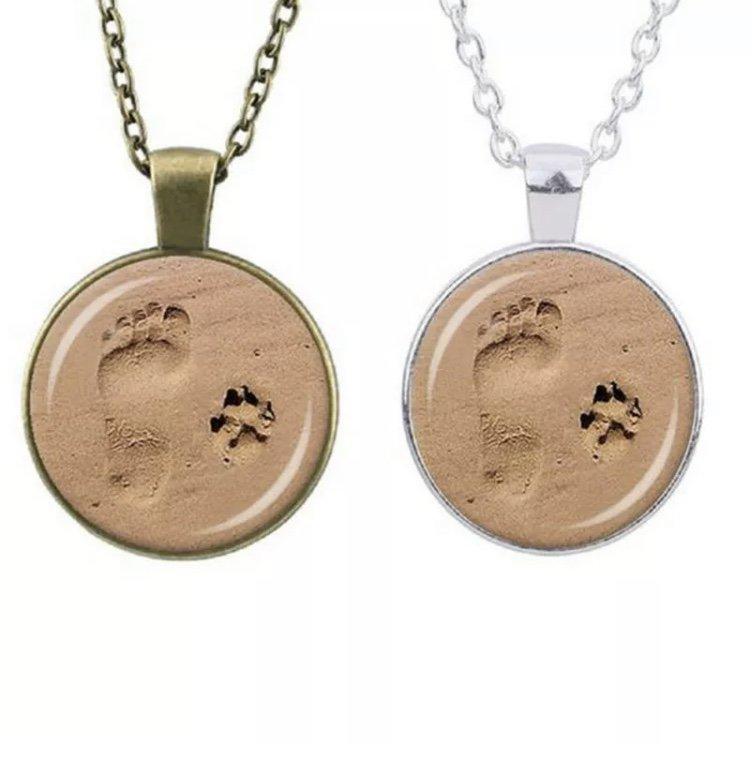 Paw Print Footprint Sand Pendant Necklace Tibetan Cabochon Glass Dome Pet Puppy Dog Fashion Jewelry