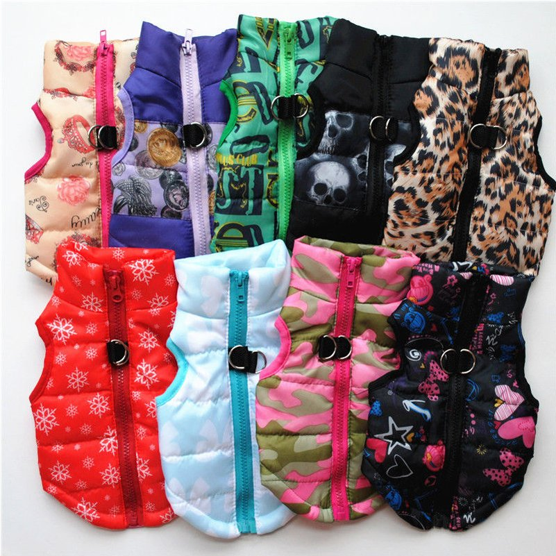 Padded Print Color Pet Vest XS-L Waterproof Warm Jacket Puppy Dog Design Coat Key Ring Outdoor Walk