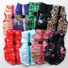 Padded Design Print Color Pet Vest XS-L Waterproof Warm Jacket Puppy Dog Coat Key Ring Outdoor Walk