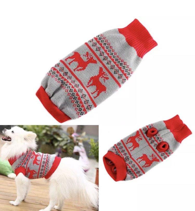 Pet Knit Reindeer Sweater XS-2XL Puppy Dog Kitten Cat Warm Clothes Coat Outwear Xmas Fashion Apparel