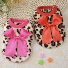 Leopard Bow Pet Sweater XXXS-XS Puppy Dog Soft Clothing Colorful Shirt Teacup Pets Cat Coat