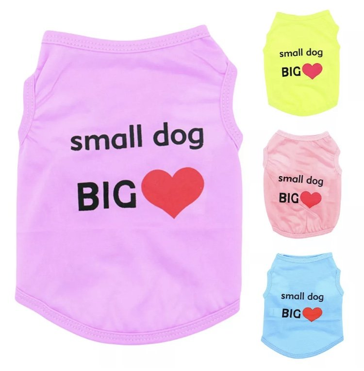 Small Dog Big Heart Pet Tank XS-L Clothes Top Puppy Dog Shirt Fashion Love Pets Apparel