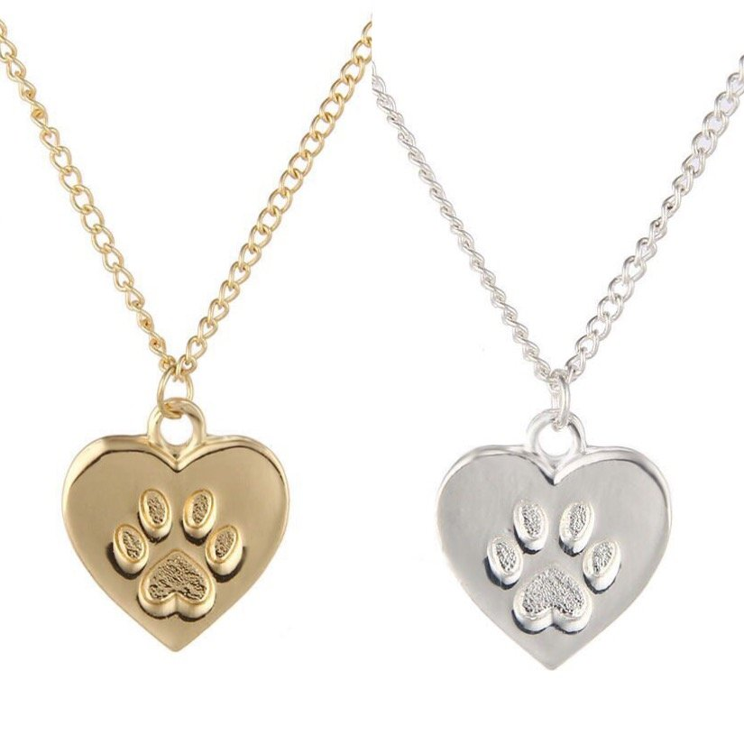 Paw Print Claw Heart Pendant Necklace Charm Cat Lover Pet Kitten Cat Animal Footprint Jewelry