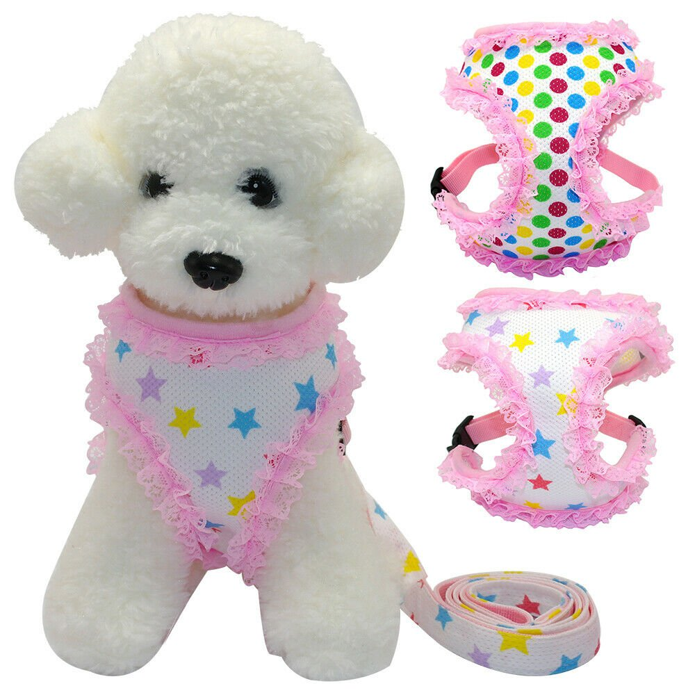 Pink Lace Harness Leash Pet Set S-L Polka Dot Star Print Puppy Dog Vest Clothes Walk