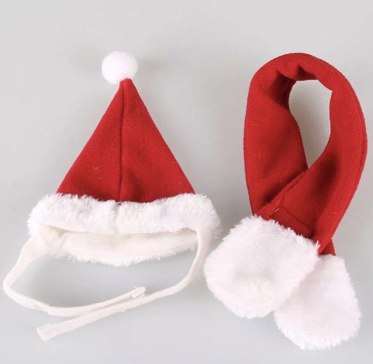 Santa Hat Scarf Set Christmas Plush Pet Puppy Dog Kitten Cat Winter Holiday Accessories