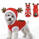 Xmas Tree Antlers Pet Hoodie XS-XL Christmas Puppy Dog Clothes Cute Design Warm Red Coat