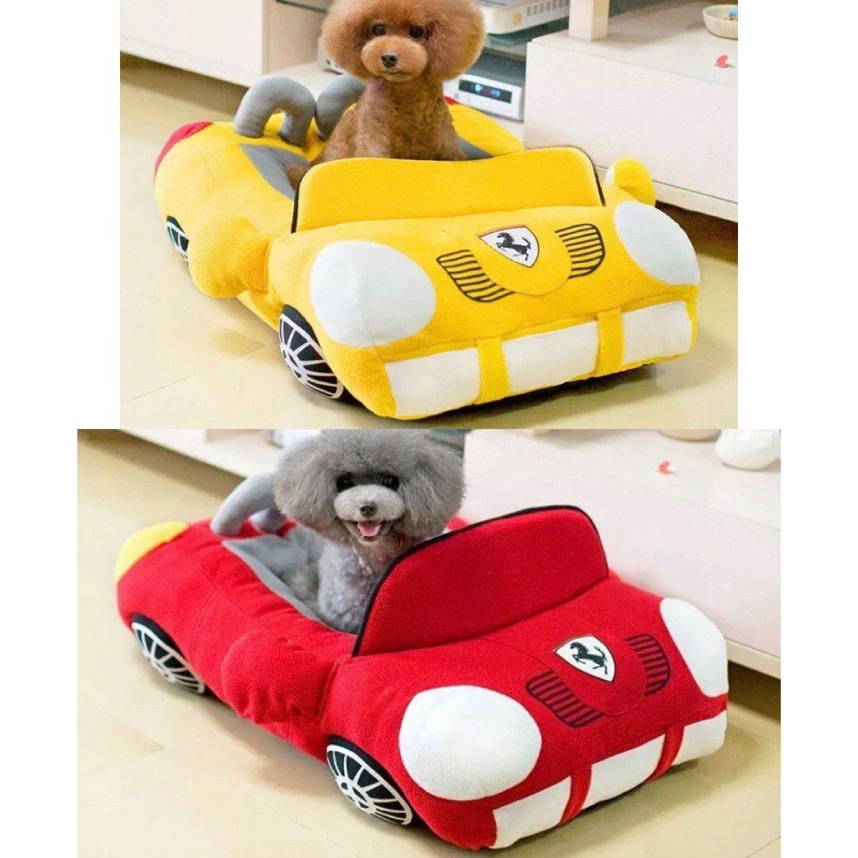 Ferrari Sports Car Shape Pet Bed House Nest Puppy Dog Cat Plush Kennel Sleep Cushion Animal Bedding