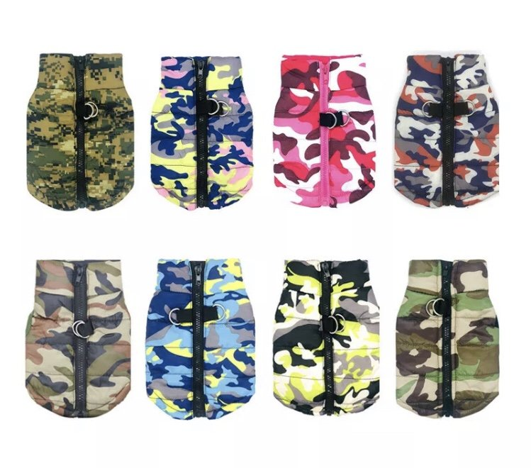 Padded Camo Pet Vest XS-XL Waterproof Camouflage Print Jacket Puppy Dog Key Ring Outdoor Clothes