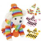 3pc Pet Warm Winter Knitted Outfit XS-L Hat Scarf Socks Set puppy Dog Cat Accessories
