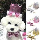 3D Pet Birthday Crown Bow Tie Set Rose Flower Hat Headwear Dog Cat Special Event Party Accessories