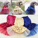Rhinestone Gems Pet Tutu Dress XS-L Princess Lace Skirt Puppy Dog Cat Costume Apparel Clothes
