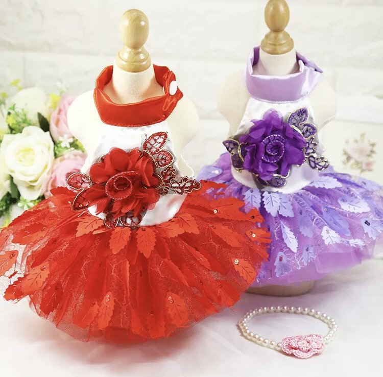 Flower Leaves Tutu Pet Dress XS-XL Puppy Dog Shiny Princess Wedding Costume Cat Pretty Fancy Clothes