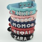 Personalized Croc PU Leather Pet Collar Rhinestone Buckle Letters Charms Dog Cat Name Accessory