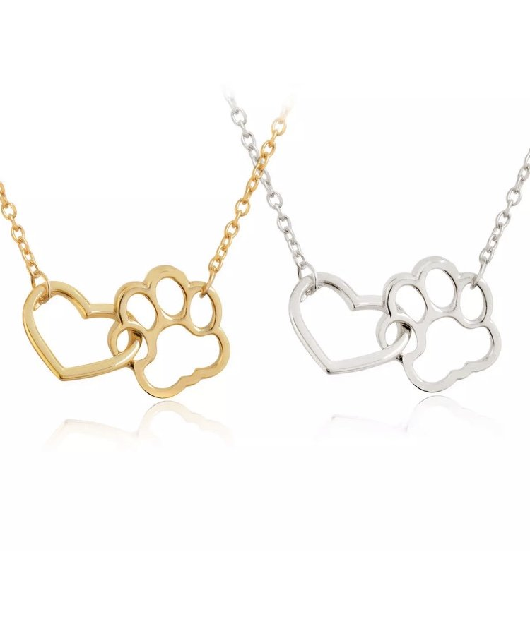 Heart Paw Print Pendant Necklace Charm Cute Pet Animal Lover Puppy Dog Cat Love Fashion Jewelry